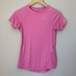 Nike Dri Fit Pink Fitted Short Sleeve Fitted Top